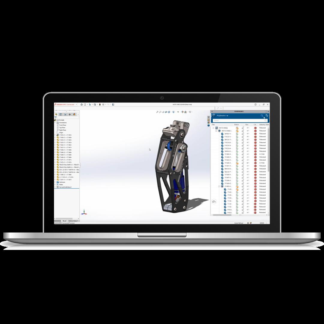 Représentation 3DEXPERIENCE SOLIDWORKS sur un ordinateur